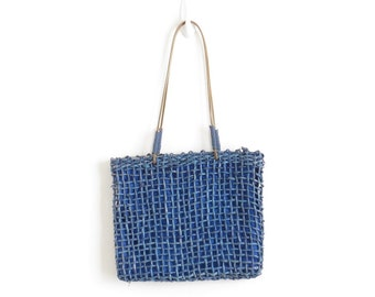 Raffia Bag Woven Straw Bag Basket Bag Woven Tote Bag Straw Tote Futuristic Bag Cobalt Blue Shoulder Bag Boho Bag Bohemian Purse Hippie Bag