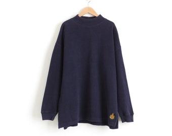 Navy Mock Neck Top Aesthetic Clothing 90s Grunge Turtleneck Top Oversized Turtle Neck Sweater Vintage Plus Size Womens XL 2XL 1X, Mens Large