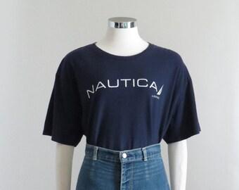 75fb49ed8 Nautica T Shirt, Navy Graphic Tee, 90s Hip Hop Clothing, Logo Tshirt, Y2K  Aesthetic Shirt, Crewneck Tshirt, Mens XL, Womens Plus Size 1X 2X