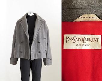 1934bc9e967 Yves Saint Laurent Mens Peacoat, Vintage YSL Coat, Mens Wool Bomber Jacket,  Gray Winter Coat, 90s Mod, Mens Medium, Womens Tall Large XL