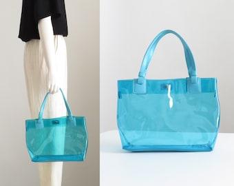Blue Jelly Bag, Clear Handbag, Vinyl Bag, Clear Plastic Bag, Double Strap  Transparent Tote Bag, 90s Hip Hop Bag, Y2K Aesthetic, 90s Club Kid e180c54319