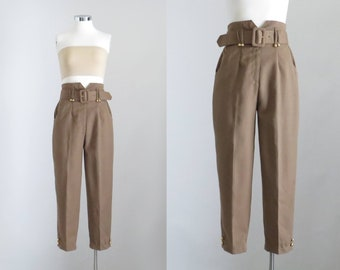4767994522ad Cropped Trouser for Women, Vintage 80s Olive Brown Pants, Crop Pleated  Trousers, Belted Pants, Flood Pants, Petite XS, Waist 25