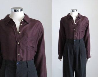 ad21f715544f14 Brown Silk Shirt, Womens Dark Brown Silk Blouse, Button Down Shirt,  Oversized Button Up, 90s Minimalist Top, Minimal Blouse, Size Large XL