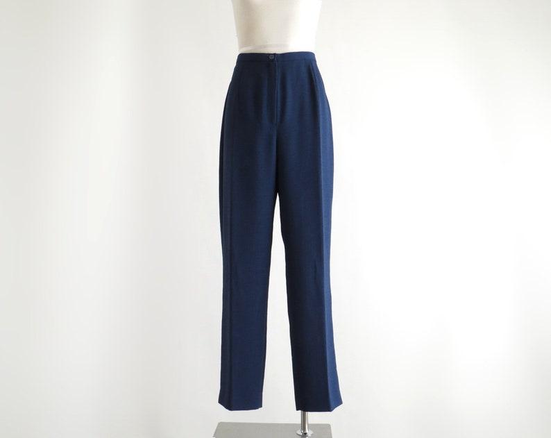 W29 80s Slacks Navy High Waist Pants Fits a 29 Waist Medium Tapered Leg Pants Womens High Waisted Pleated Trousers Blue Dress Pants