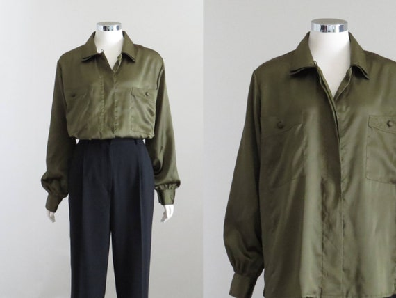Olive Green Satin Blouse, Womens 80s Oversized Shi