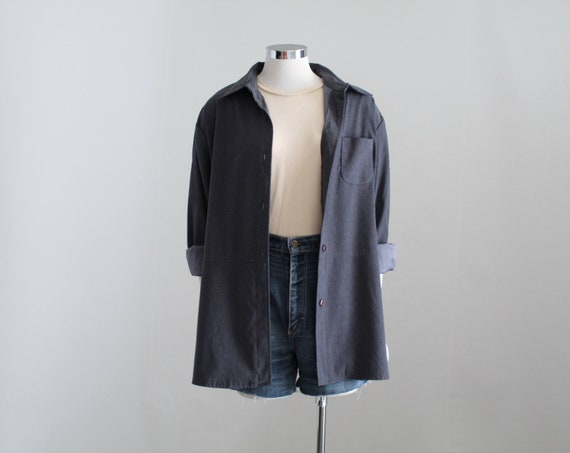 Charcoal Gray Shirt Jacket, Womens Grey Button Dow
