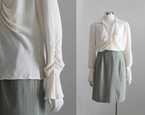 Vintage Poet Shirt, Womens Cream Romantic Blouse,