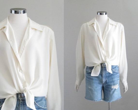 Vintage Cream Blouse, Womens Romantic Shirt, 80s B