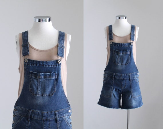 Denim Overall Shorts, Womens Petite Overalls, Y2K… - image 1