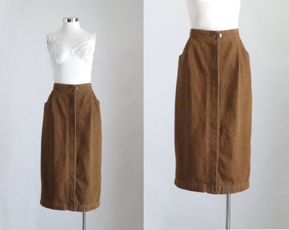 Brown Denim Skirt, Womens Cottagecore Clothing, Co