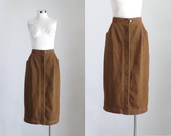 Brown Midi Skirt, Women 80s Pleated Skirt, Denim S
