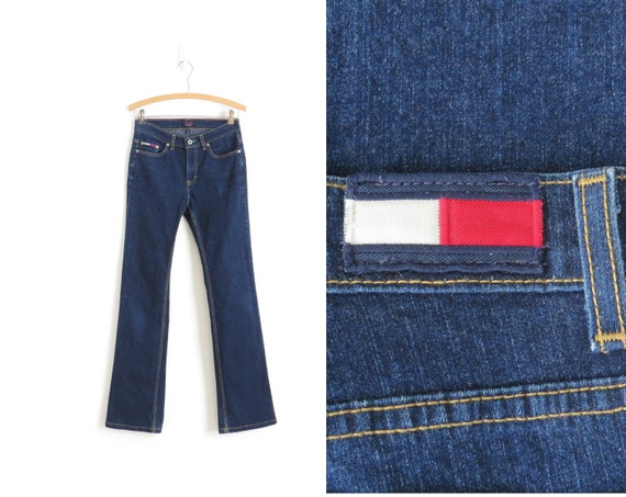 679425dee94ac 90s Tommy Hilfiger Jeans Womens Vintage Flared Jeans Dark   Etsy