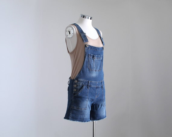 Denim Overall Shorts, Womens Petite Overalls, Y2K… - image 3