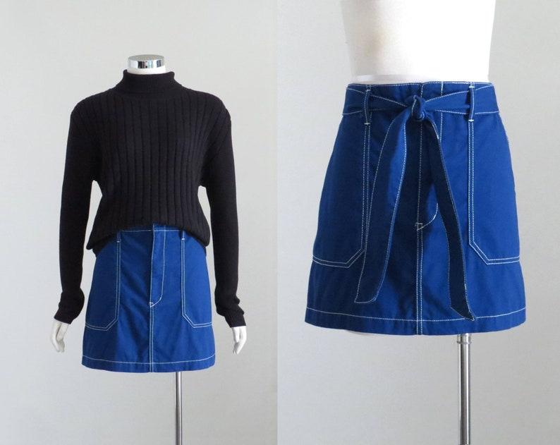 Y2K A-Line Skirt 90s Hip Hop Skirt Cobalt Blue Skirt Womens Contrast Stitch Skirt Fabric Belt Tie Skirt Medium Aesthetic Mini Skirt