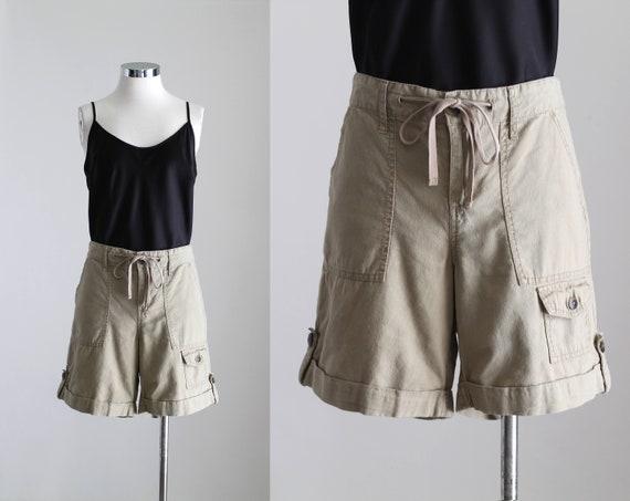 Linen Cotton Shorts, Womens Khaki Cargo Shorts, Dr