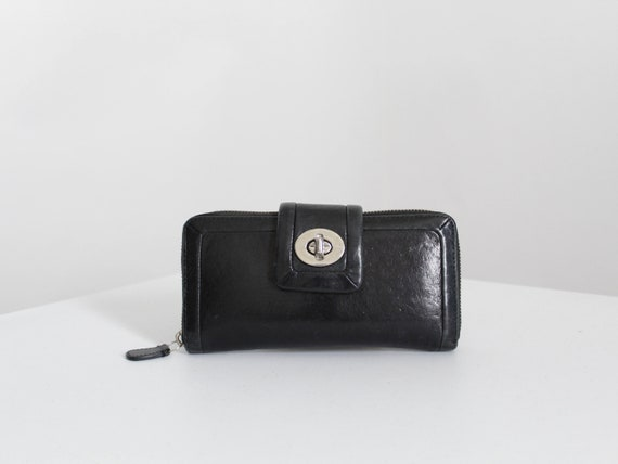 Vintage Coach Wallet, 90s Coach Black Leather Wall