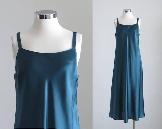 Green Satin Slip Dress, Womens Minimalist Maxi Sli