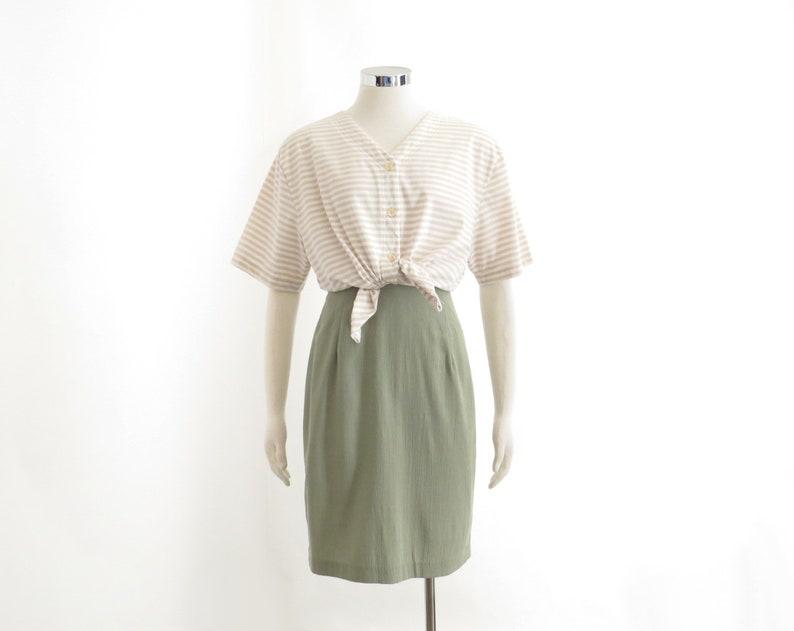 5d8188536d4568 Beige Striped Shirt Womens Aesthetic Top 80s Pastel Stripe T