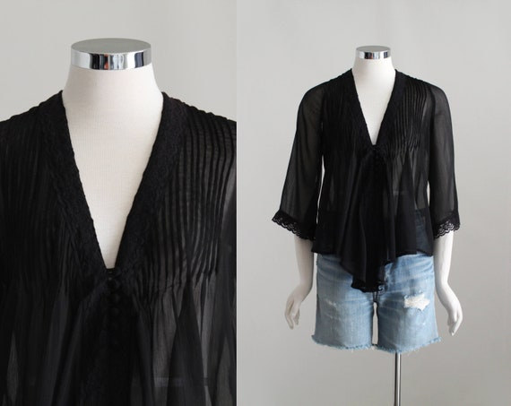 Black Sheer Blouse, Womens Romantic Blouse, Flowy