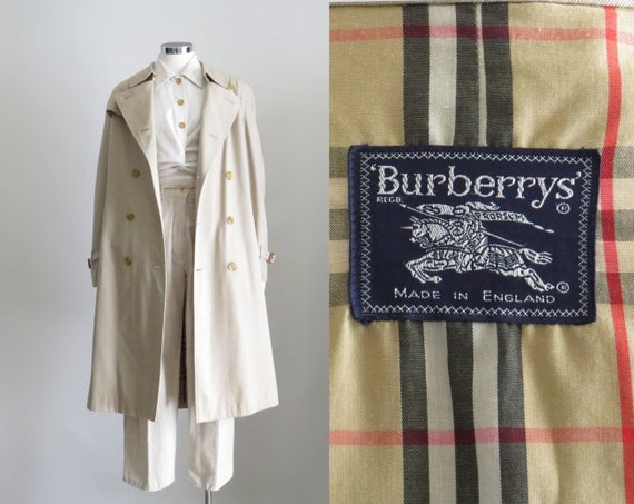 Burberry Trench Coat, 80s Tan Belted Trenchcoat, Double Breasted Duster Jacket, Beige Overcoat, Long Jacket, Mens Small, Womens Large