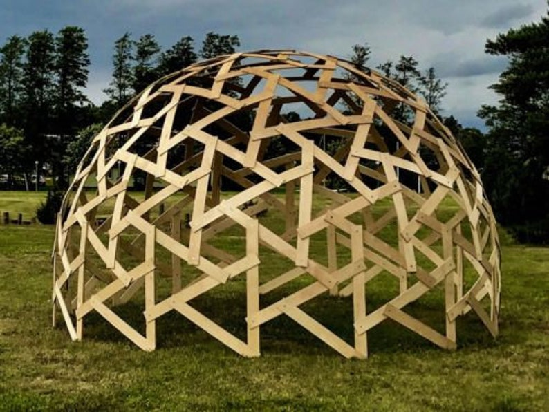 Wood Dome Geodesic Dome Greenhouse Tecnical Drawings 4m 8m Diameter