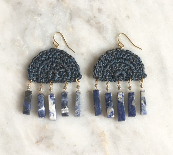Dark teal blue half moon handmade crochet earrings, sodalite semi-precious
