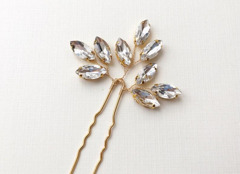bridal hairpiece crystal hair pins MIKA bridal hair pins simple hair pins gold hair pins small hair pins ivy hair pin