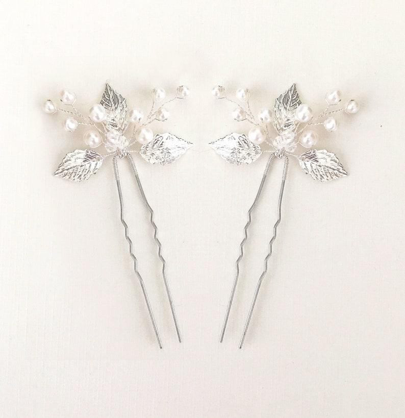 simple hair pins bridal hair pin pearl crystal hairpiece leaf hair pin SELAH silver hair pin bridesmaid hair pin silver hairpiece