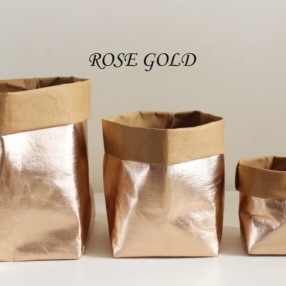 Tableau décor, sac en papier Or Rose, sac de papier lavable, sac de rangement, de luxe, décoration, rangement élégant, panier de mariage de mariage