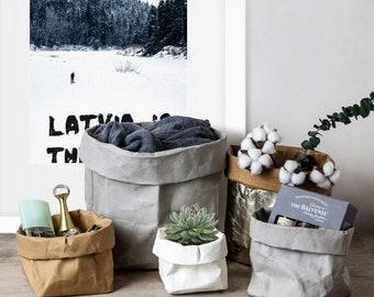 Conteneur de papier Kraft lavable pour le stockage, nourriture, plantation, cadeau envelopper et animal de compagnie transporteur, coffre à jouets, sac en papier lavable, Pot, panier, bacs