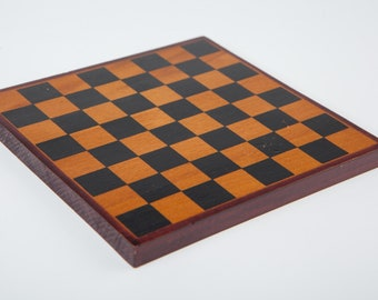 Miniature vintage chess board 5x5inches, 12,5x12,5cm, handmade wooden mini chess board