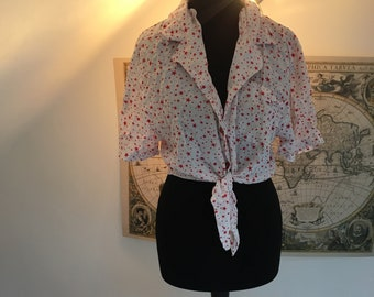 Women's vintage white with red stars blouse