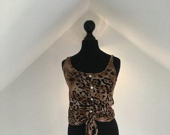 Women's vintage leopard print blouse