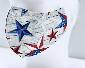 Red, White, & Blue Stars Patriotic Face Mask