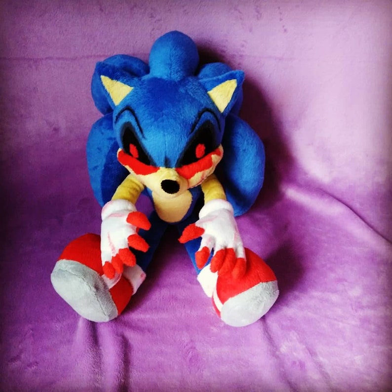 Custom-made plush, inspired by the Sonic E X E plush toy, 35-40cm (13-15  inches) to order
