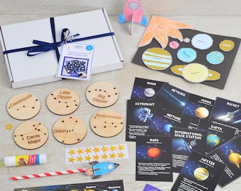 Planets & Stars Adventure Activity Box - Kids Space Toy Gift for Boys and Girls - STEM Kit- Solar System for Kids - Children's Science Kit