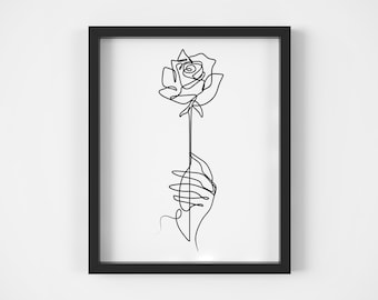 d671c8f282bd1 One Line Drawing, Hand Holding Rose, Romantic Poster, Wedding Proposal,  Anniversary Present, Minimalist, Wall Decoration, Black And White