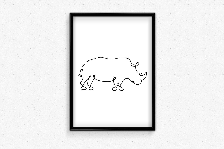 Rhinoceros Line Art, Minimalist Rhino Print, Black And White Rhino Art, One  Line Drawing, Rhinoceros Silhouette, Nursery Room Decor, Minimal