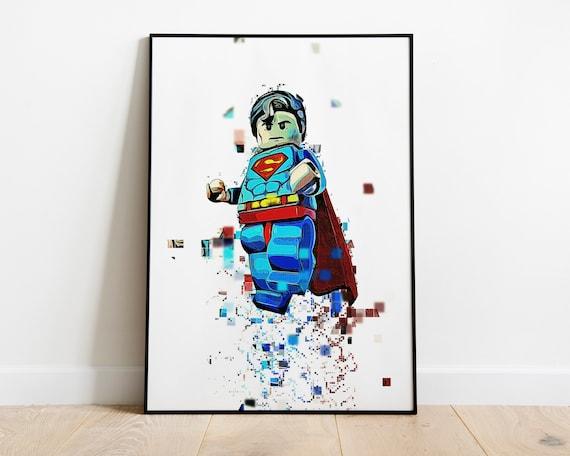 Lego Superman Poster Dc Comic Books Pixel Art Video Game Artwork Clark Kent Portrait Justice League Cartoon Illustration Instant