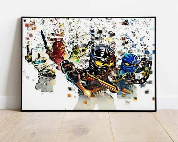 Lego Ninjago Poster Cole Jay Walker Zane Kai Lloyd Garmadon Pixel Art Lego Ninjago Movie Lego Printable Kids Room Decoration