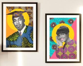 African Fabric Family Portrait, Custom made art