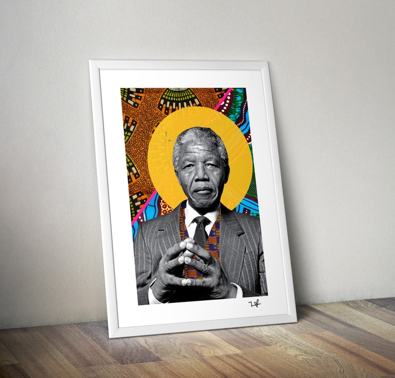 Nelson Mandela Print A4 / A3 Print  South African Fabric image 0