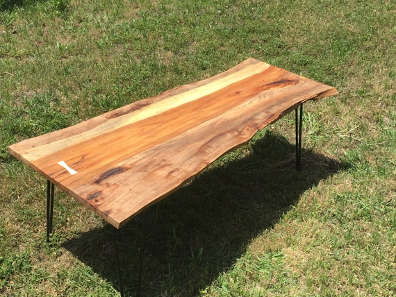 Live Edge Natural Pecan Wood Coffee Table Etsy