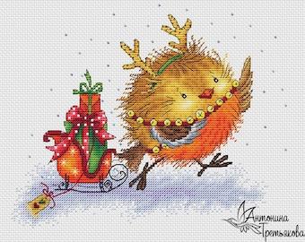 "Cross stitch pattern ""Birdie with sledge"" NewYear. Cross stitch chart instant download PDF format."