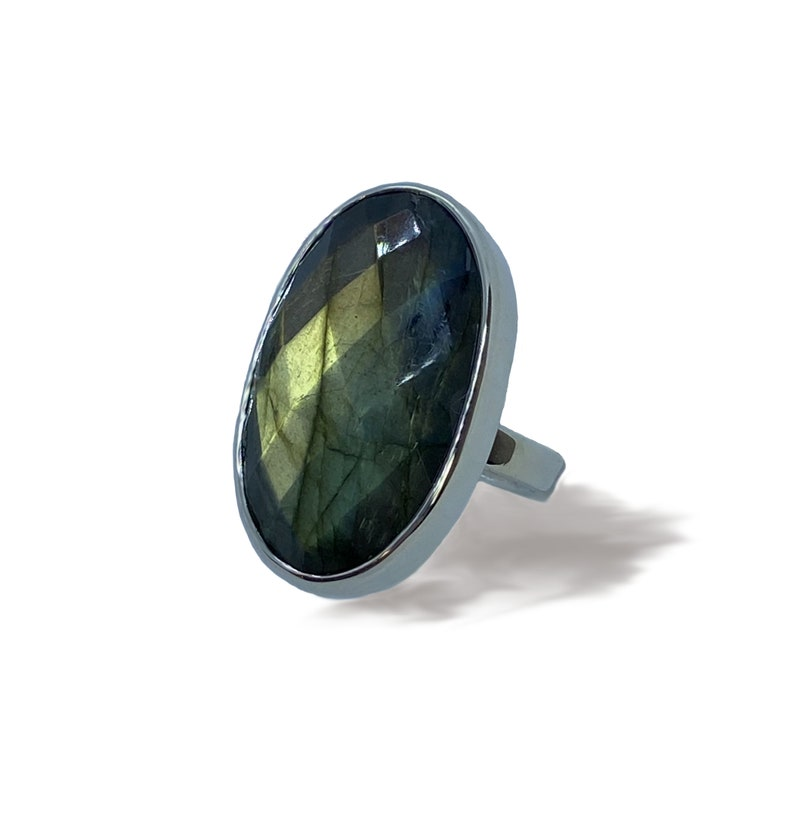 Labradorite Chunky Ring Rose Cut oval facetted stone