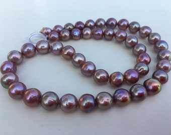 7-9mm 100/% natural metallic color pearl strand,Deep purple pearl necklace,YLXB