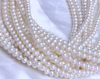 7-8mm off round pearl strings,natural white short potato pearls,pearl necklace,loose strings.
