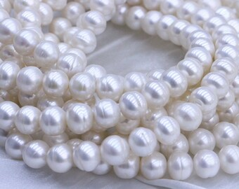 10-11mm large pearl strings,circled pearl strings,natural white pearl beads,fresh water pearl necklace.