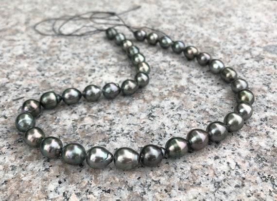 """NATURAL 9-10MM TAHITIAN BLACK PEARL Baroque loose beads 14/"""" Strands"""