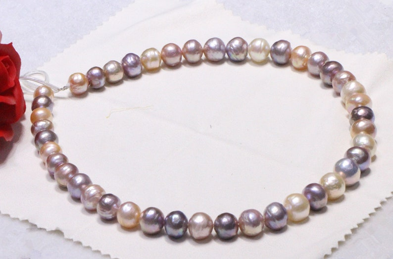 Real edison pearl,Special mixed color,Strong luster,Metallic color pearl strand,Pearl necklace Birthday gift.RS007